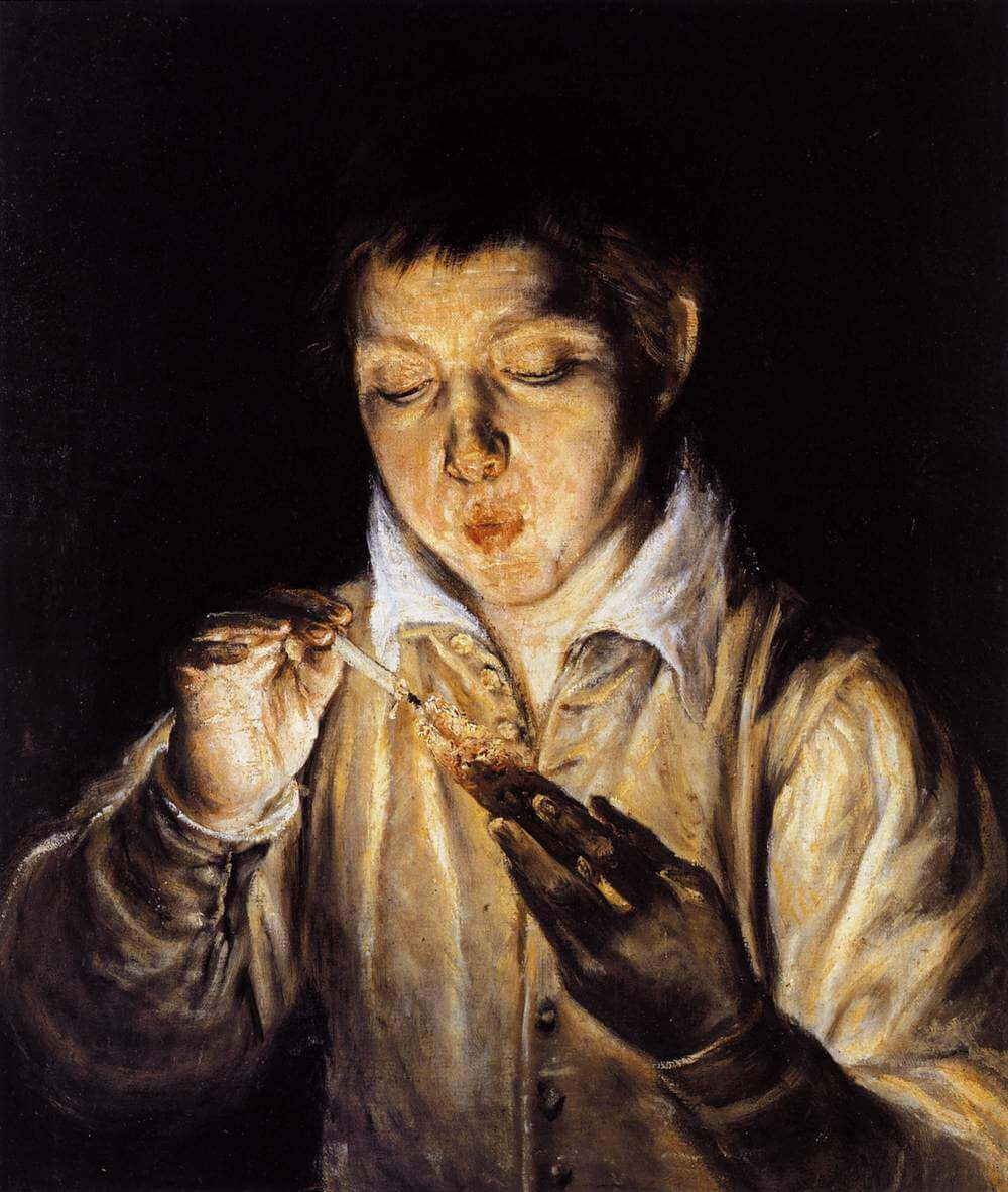 A boy blowing on an ember to light a candle - by El Greco