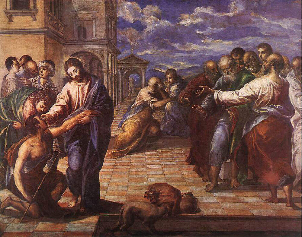 Christ healing the blind man - by El Greco