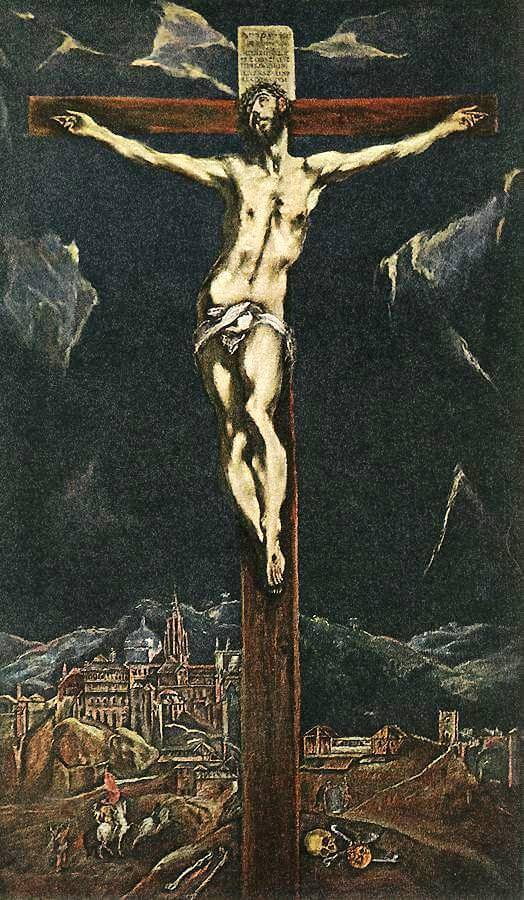 Christ in agony on the cross - by El Greco
