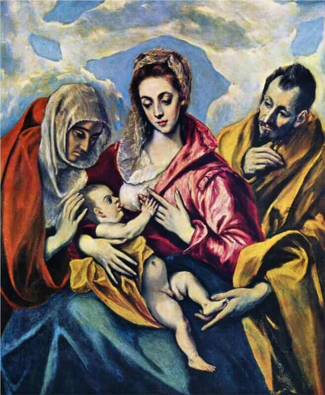 Holy family with st anne - by El Greco