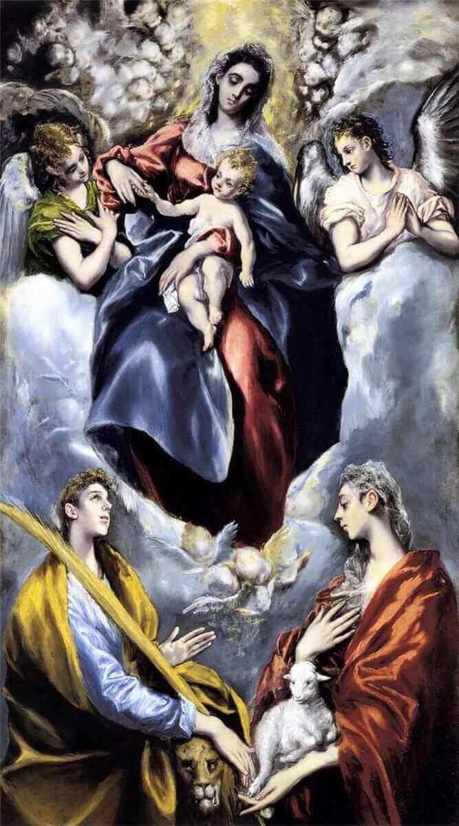 The virgin and child with st martina and st agnes - by El Greco